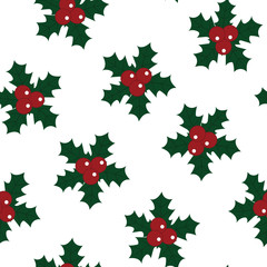 christmas red holly berry green leaves merry christmas new year pattern seamless vector