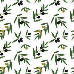 black and green olives branches with green leaves oil pattern on a white background seamless vector