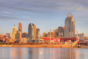 View of the Cincinnati skyline with Ohio River