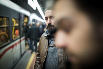Subway passengers waiting train