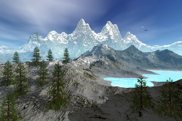 Mountains, an alpine landscape, coniferous trees on the peak, a blue lake and a cloudy sky