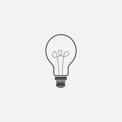 light bulb with filament vector icon thinking new idea concept or industrial electricity supply gray vector illustration