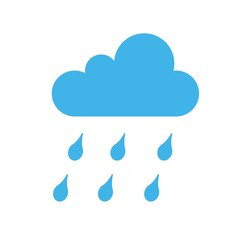 rainy cloud with rain drops rainy season weather vector icon blue and white background