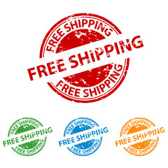 Rubber Stamp Seal - Free Shipping - Colorful Vector Set
