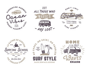 Set of Vintage Surfing Graphics and Emblems for web design or print. Surfer logotypes. Surf Badges. Summer fun typography insignia collection. Stock hipster patches isolated on white