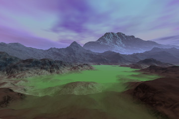 Fog in the valley, a martian landscape, mountains and rocks and colored clouds in the sky.