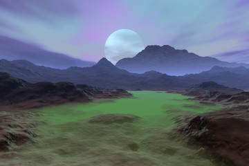Sunset, a deserted landscape, green fog on the ground and a beautiful sky.