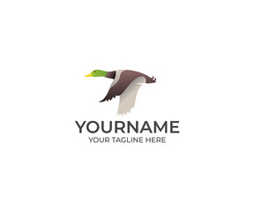 Flying Duck Logo Template. Bird Vector Design. Animal Illustration
