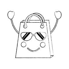 shopping bag happy sunglasses  emoji icon image vector illustration design
