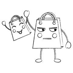 shopping bag emoji icon image vector illustration design  black line