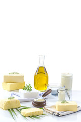 food Fats: set of dairy product and oil on white background