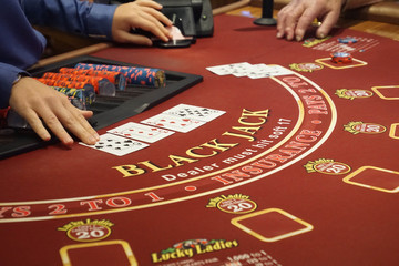 Blackjack table in the casino on a cruise ship