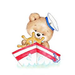 Cute Teddy bear driving a boat