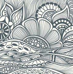 Abstract floral Zentangle background pattern black on white for coloring page or adult relax coloring book or for decoration package or for wallpaper and other things