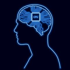 Glowing human head with digital brain