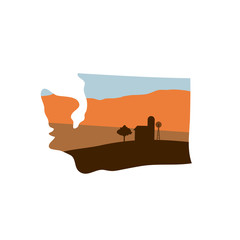 Washington State Shape with Farm at Sunset w Windmill, Barn, and a Tree