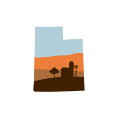 Utah State Shape with Farm at Sunset w Windmill, Barn, and a Tree