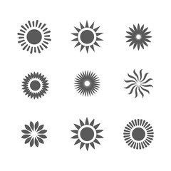 Basic or Normal Sun Icon Set w shining rays of sun