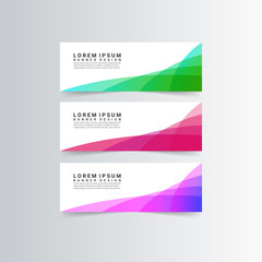 modern banners with colorful geometric shapes