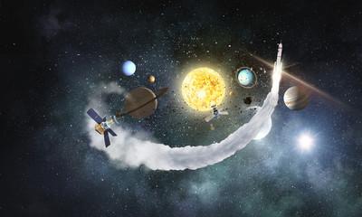 Solar system planets . Mixed media