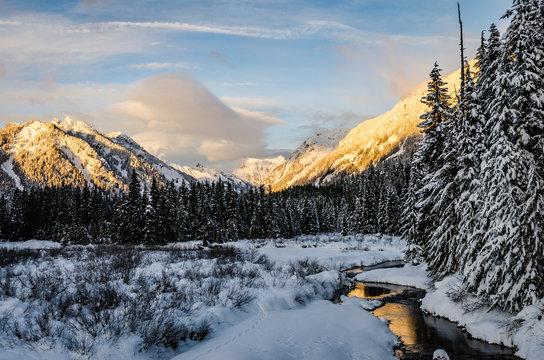 Golden Light on Mountain Above Gold Creek Pond
