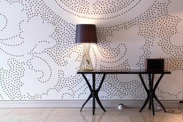 modern wallpaper and black desk style lamp