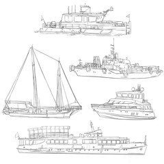 vector set of ships and boats