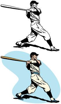 A baseball batter swinging and hitting a home run.