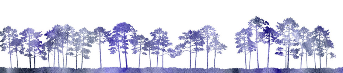 watercolor landscape with pine trees