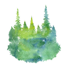 watercolor landscape with fir trees