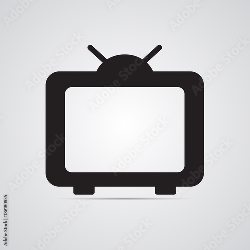 Silhouette Flat Icon Simple Vector Design With Shadow Tv With