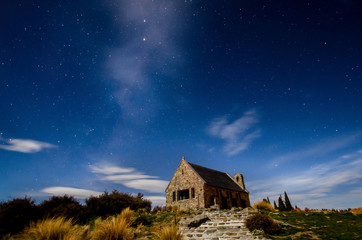 Beautiful milky way at the Church of the Good Shepherd, Lake Tekapo which is located in New Zealand