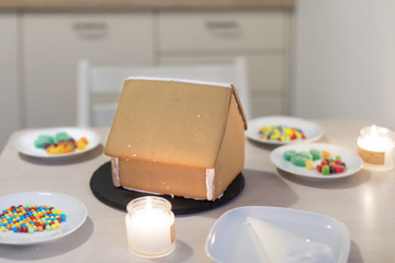 Gingerbread house ready to be decorated