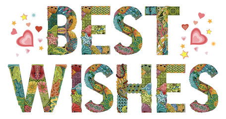 Words BEST WISHES. Vector decorative zentangle object