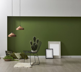green interior style frame and cactus with many green pillow