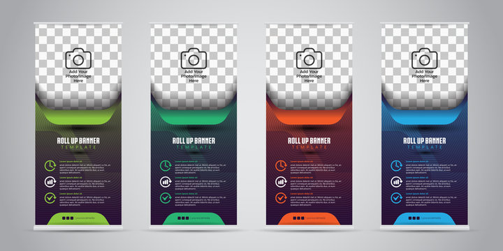 4 Different Color Business Roll Up. Standee Design. Banner Template. Presentation and Brochure. Vector illustration