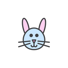 Bunny head filled outline icon, line vector sign, linear colorful pictogram isolated on white. Symbol, logo illustration. Pixel perfect vector graphics