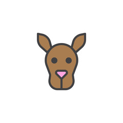 Kangaroo head filled outline icon, line vector sign, linear colorful pictogram isolated on white. Wallaby face symbol, logo illustration. Pixel perfect vector graphics