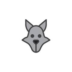 Wolf head filled outline icon, line vector sign, linear colorful pictogram isolated on white. Predator animal symbol, logo illustration. Pixel perfect vector graphics