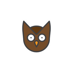 Owl head filled outline icon, line vector sign, linear colorful pictogram isolated on white. Wisdom symbol, logo illustration. Pixel perfect vector graphics