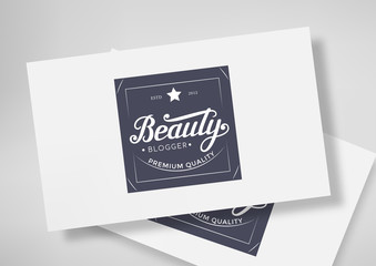Round Badge Beauty Blogger with Hand Drawn Lettering Isolated on Business Card Template. Black Logo Emblem Vector Illustration. Can be used for Logotype, Branding.