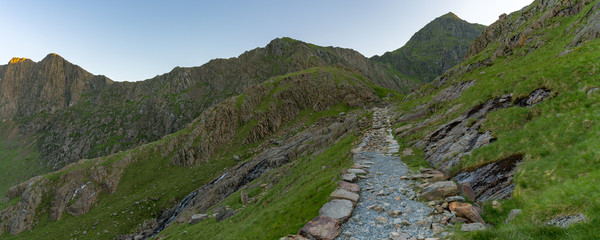 Walking on the Miner's track, Snowdonia, Wales, UK - with Mount Snowdon in the background