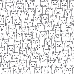 Cat kitten breed doodle Vector Seamless Pattern isolated wallpaper background white