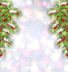 Christmas Background with Fir Tree Branches, Glowing Banner for Happy New Year