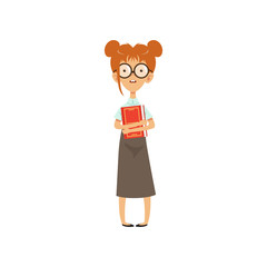 Confused nerd girl standing with book in hands. Cartoon female character with brown hair in glasses, blouse and long skirt. Smart person. Flat vector design