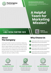 A4 brochures or phamplet or flyer template with big right title and horizontal services icon in bottom part style 2 - green color