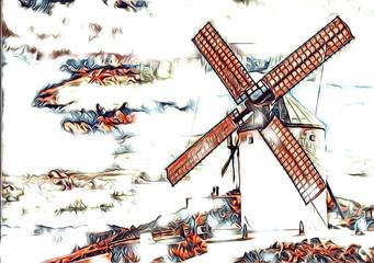windmill old retro vintage art painting