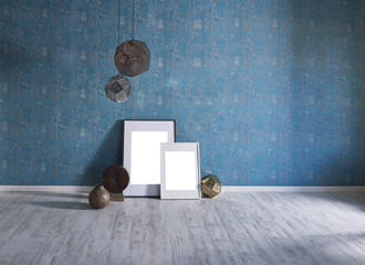 blue room wall and frame objects and frame decoration