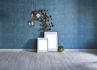 dark pattern blue wall and objects interior
