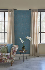 decorative living room blue wallpaper and windows style